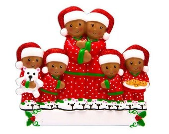 COMING SOON! African American Family of 6 in Pajamas Personalized Christmas Ornament / Family Ornament / Personalized Ornament