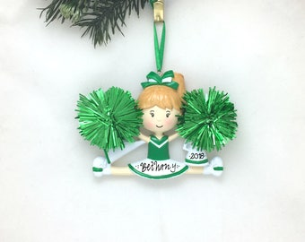 Cheerleader Christmas Ornament / Cheerleading Ornament Green and White / Personalized Christmas Ornament / Cheer Team Ornament