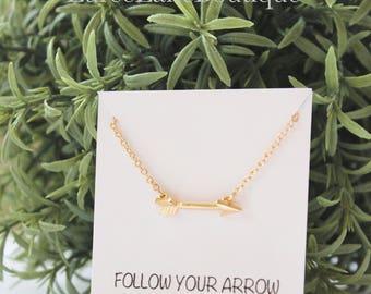 Arrow necklace/Dainty arrow necklace/Arrow pendant/Valentine's Day necklace/Valentine's Day gift/Friendship necklace/Bridesmaid necklace