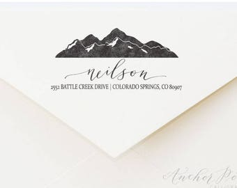Customized partial hand calligraphy address stamp | mountains | wedding gift | housewarming gift | stationery
