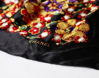 1980's Authentic Jumbo Chanel Silk Scarf