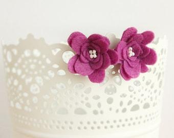Dark pink clip on earrings, magenta flower clip on earrings, felt clip on earrings, girls earrings, magenta studs