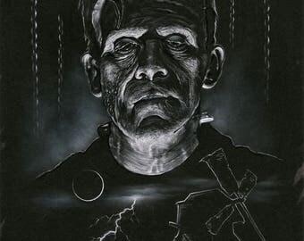 Frankenstein 11 by 14 Art Print