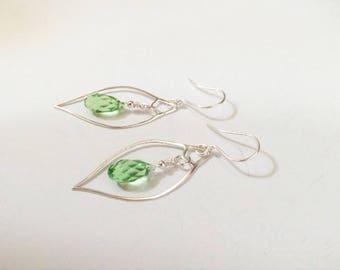 "Green earrings ~ Swarovski earrings ~ Easter Jewelry ~ Swarovski crystals ~ artisan jewelry, green jewelry - ""Green Eyes"""