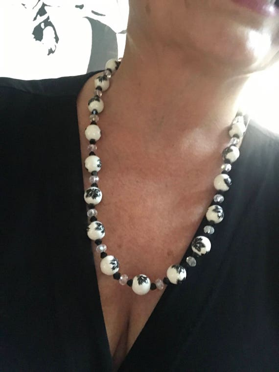 Elegant Black and White Crystal & Art Glass Beaded Necklace