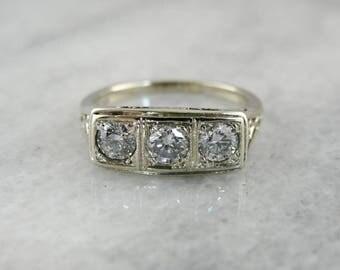 Art Deco Diamond Filigree Ring, Three Stone Diamond Ring, Vintage Three Stone Ring 9P747V-R