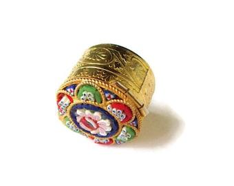 Italian Micro Mosaic  Box / Round  Micro Mosaic Snuff Box/ Micro Mosaic Trinket Box/ Floral Micro Mosaic Pill Box/ Micro Mosaic Ring Box