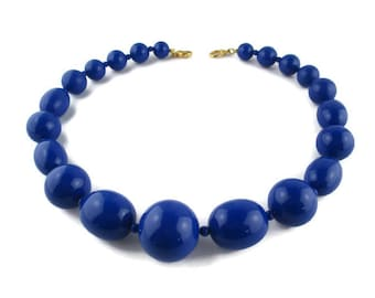 Liz Claiborne Necklace/ Blue Graduated Lucite Choker/©Lci Chunky Royal Blue Choker/ Big Beads Boho Necklace