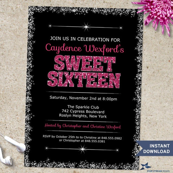 Printable Sparkling Edge Pink Glitter Look Sweet 16 Birthday Party