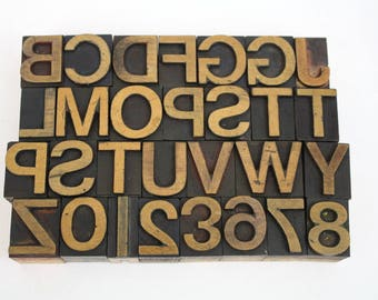 Letterpress Printing Blocks Vintage Wooden Alphabet / Pick Your Wood Letters