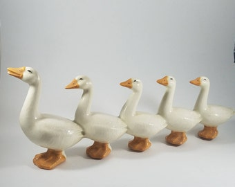 Family of Geese  |  5 Ceramic Geese in a Line | Ceramic Goose Family | Country Farmhouse Decor | Goose Figurines | Farm Country Geese Statue