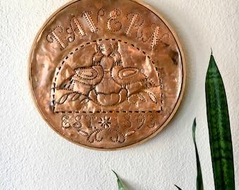 Vintage Copper Tavern Sign / Handmade Round Hoop Tin Sign with Tavern Birds / Established 1893