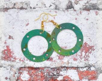 Abstract Paint Gear Earrings Set 3, OOAK Handmade Double Sided Green Gear Hoop Earrings Unique Steampunk Jewelry Gift for her