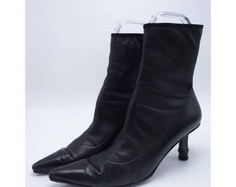 GUCCI Black Leather Ankle Boots w/ Signature Bamboo Heel
