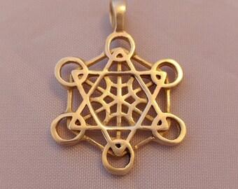Metatron 39 s cube pendant 1 3 4 brass for Metatron s cube jewelry