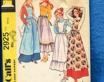 1971 McCall's 2925 Pinafores and Apron with Big Patch Pockets and Ruffled Tiers Size Small 8/10