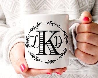 Monogram Coffee Mug, Coffee Mug, Personalized Mug, Wedding Gift, Wedding Coffee Mug, Monogram Mug, Custom Coffee Mug, Initial Coffee Mug