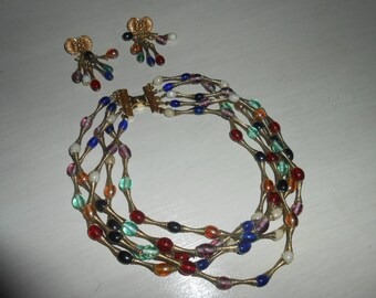 Vintage DEXTER & WILSON Glass Beaded Gold Wire Necklace...FABULOUS!!