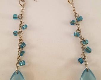 Pale blue dangle earrings