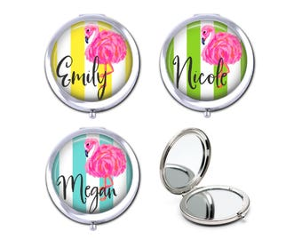 Personalized bridesmaid gift, Pink flamingo compact mirror, custom name flamingo pocket mirror,