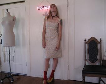 60's Cream Eyelet Lace Dress sz Sm