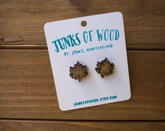 maple leaf, gifts for her, hand painted, wood maple leaf earring, laser cut wood earring, oak jewelry, nickel free