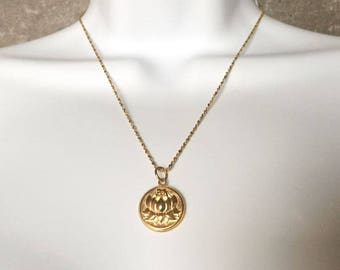 Lotus Coin Medallion Necklace - Layer Necklace - Lotus Symbol - Gold Coin Jewelry - Disk Necklace - Gifts for Her - Kim K Necklace