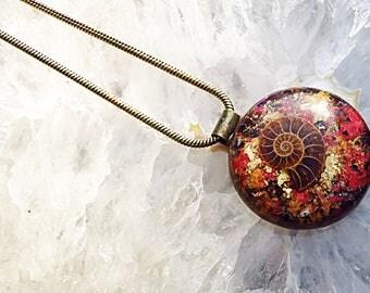 Powerful Orgone Pendant - Ammonite/Pyrite/Amethyst/Red Garnet/Red Jasper - FREE WORLDWIDE SHIPPING!