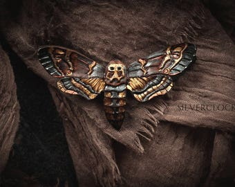 death's head HAWK MOTH BROOCH leather butterfly  hairpin carved hair clip natural woodland larp elven scarf gothic outfit leathercraft pin