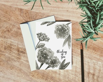 Thinking of You Floral - Just Because Cards - Anniversary Card - Sympathy Card
