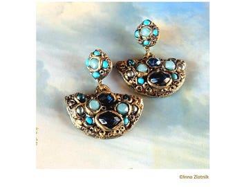 Statement Turquoise Earrings Bohemian Blue Earrings Blue-Jewelry Earrings Boho Unique Earring-Art Unique-Gift Earrings Unusual-Earrings