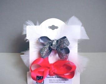 Hair bows, Feather hair ribbons, Classic hair bows, gift for girl, girls hair bows.