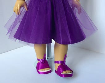 Purple tutu skirt and shoes. 18 inch doll skirt and shoe set. Made to fit American girl doll. Handmade