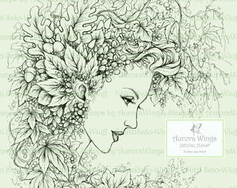 Digital Stamp - Instant Download - Vines and Berries - Fairy with Forest Foliage - Fantasy Line Art Digi for Arts and Crafts - AuroraWings
