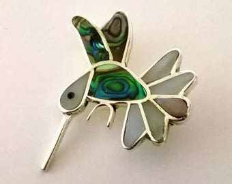 Hummingbird, Vintage Pendant with Brooch Pin, Tropical Bird, Hummingbird Jewellery, Made in Mexico, Abalone, Mother of Pearl, 80s