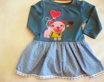 Baby Girl Valentine Bodysuit - Long Sleeve - Valentine Day Applique - Handmade - Baby Gift - Cotton