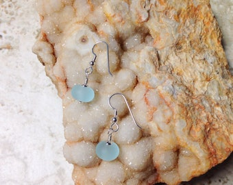 Aquamarine Etched Glass and Silver Earrings