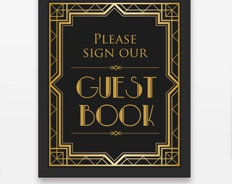Wedding Sign / Guestbook Sign / Sign Our Guestbook / Please Sign Our / Wedding Printable / Gatsby Wedding Décor / Art deco wedding