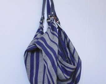 Bag drop - linen fabric blue striped navy and ocher - blue leather strap.