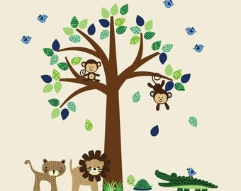 Forest Wall Decal, Tree Wall Stickers, Kids Room Wall Decal Stickers, FABRIC WALL DECALS, Z101A