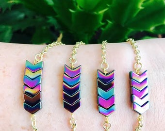 Chevron Rainbow Hematite Dainty Bracelet