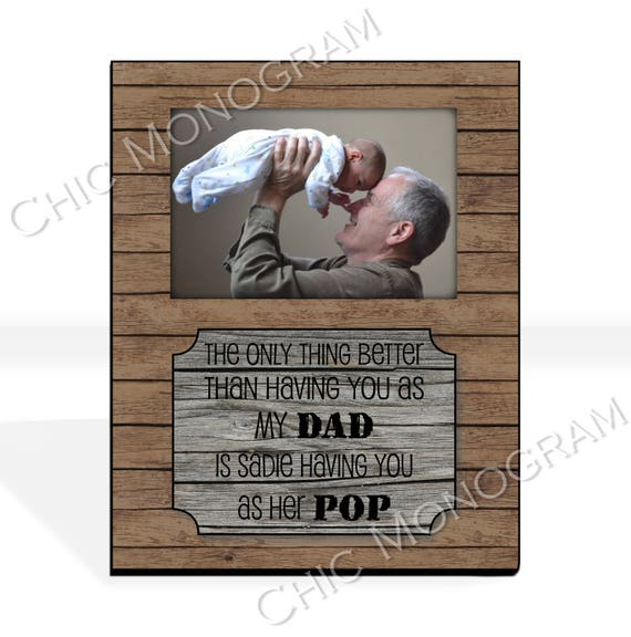 Christmas Gift New Grandfather Gift for Dad Grandpa New Grandparent Gift Custom Photo Frame Picture Frame Rustic Wood Look 8 x 10 w/ 4 x 6