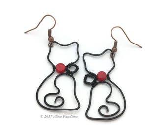 Black Cat Earrings Halloween Cat Earrings, Cute Earrings Black Kitty Halloween Earrings Handmade Cat Jewelry Cat Lover Gift Jewelry Earrings