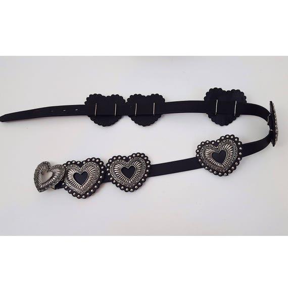 Vintage 90s Metal Hearts Black Leather Adjustable Womens Belt - Womens Western Concho Belt Accessory - Heart Accent Belt Grunge Fashion XL