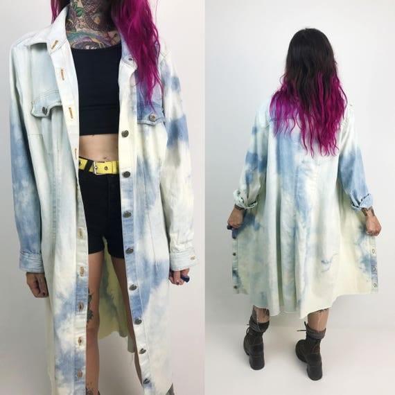 90's Denim Tie Dye Bleach Button Front Denim Shirt Dress - Large 14/16 Acid Wash Long Jacket  - Blue & White Bleached Frayed Denim Shirt