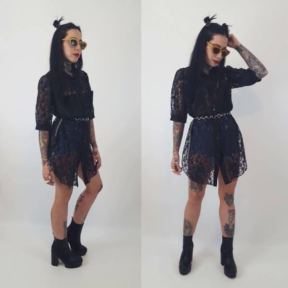 80's Black Lack Sheer Long Button Up Shirt Dress S/M - Black Floral Lace Peek A Boo Top - VTG Romantic Goth All Black Lace Layering Top