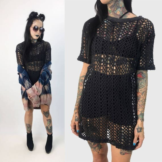 80's Black Mesh Long T-shirt Dress/ Beach Cover Up Small - Black Cotton Crew Neck Tee See Through Net Dress - Goth Grunge Black Dress Layer