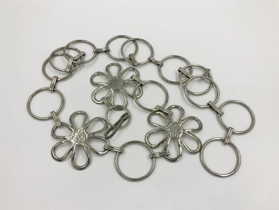 90's Silver Daisy O Ring Chain Belt - Chunky Boho Hippie Chain Link Statement Belt - Adjustable Vintage Chain Belt Medium