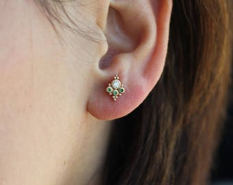 Bohemian Solid Gold  Studs Earrings / Ruby Studs / Emerald Studs / Sapphire Studs / Turquoise Studs / Diamond Studs