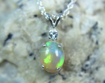 OPAL- Genuine Ethiopian Welo Opal Cabochon Sterling Silver Necklace with White Sapphire Accent!